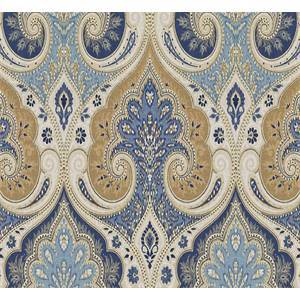 Spades Delta Blue Floral Linen Damask Drapery Fabric
