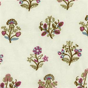 Esra Bejeweled Floral Embroidered Drapery Fabric