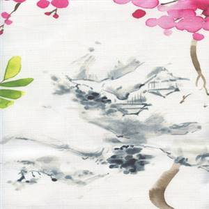 Akita Blossom Oriental Toile Drapery Fabric