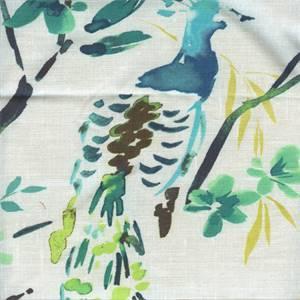 Tailfeathers Peacock Cotton Drapery Fabric