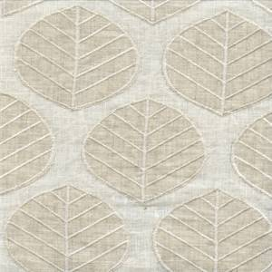 Laurel Sand Embroidered Linen Drapery Fabric