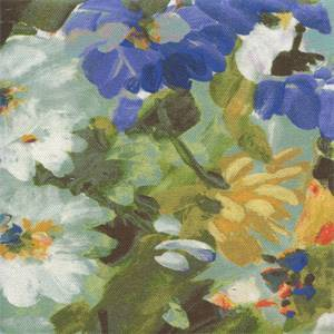 Painter's Garden Sapphire Cotton Drapery Fabric by Braemore Fabrics