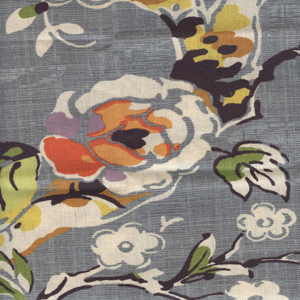 Throw Pillows Leather : Allora Slate Floral Drapery Linen by Braemore Fabrics Buyfabrics.com