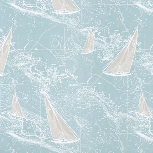 Sail Away Spa Blue Nautical Cotton Drapery Fabric By