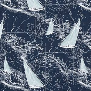 Sail Away Vintage Indigo Nautical Cotton Drapery fabric by Premier Prints Fabrics 30 Yard Bolt