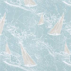 Sail Away Spa Blue Nautical Cotton Drapery fabric by Premier Prints Fabrics 30 Yard Bolt