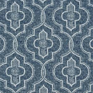 Newport Vintage Indigo Geometric Cotton Drapery fabric by Premier Prints Fabrics 30 Yard Bolt