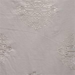 Embroidered Medallion Creme E8503A Drapery Fabric