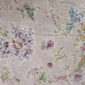 Millie Berry Washed and Weathered Look Floral Drapery Fabric