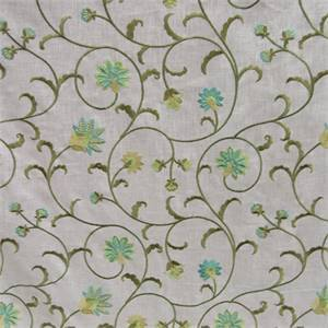 Guiliana Fairy Tale Green Floral Embroidered Drapery Fabric by Swavelle Mill Creek
