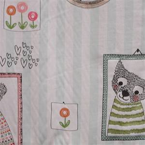 Fuzzy Faces Pastel Embroidered Cotton Drapery Fabric