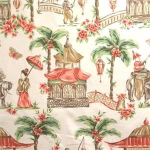 mougin coral oriental toile drapery fabric