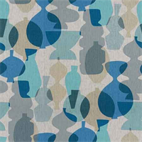 Pots Surf Blue Printed Linen Drapery Fabric