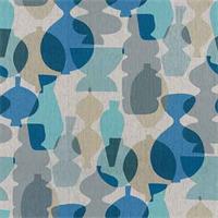 Pots Surf Blue Printed Linen Drapery Fabric
