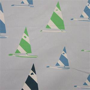 Sailboat Sky Blue Drapery Fabric By Waverly