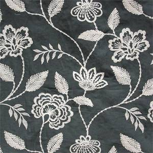 Penelope Embroidery Black Floral Linen Fabric