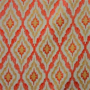 Lanni Ikat Coral Embroidered Drapery Fabric by Swavelle Mill Creek