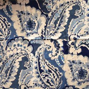 Aretha China Blue Floral Linen Blend Drapery Fabric