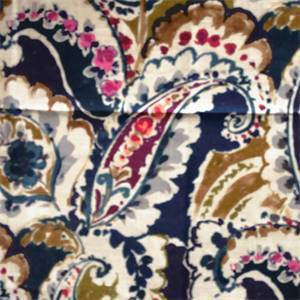 Aretha Navy Paisley Floral Linen Blend Drapery Fabric