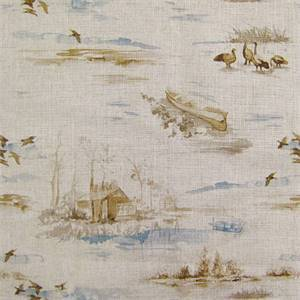 R-Lakeside Daybreak Cotton Blend Duck Scene Drapery Fabric