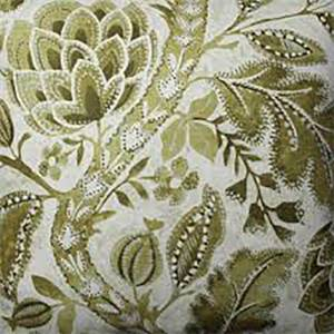 Java Tree Moss Green Floral Linen Drapery Fabric