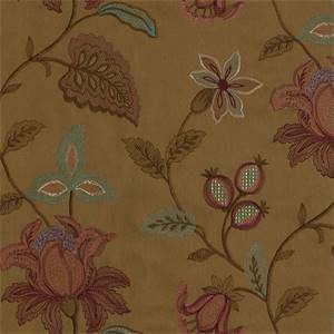 Kerala Embroidery Prune Floral Fabric by Waverly