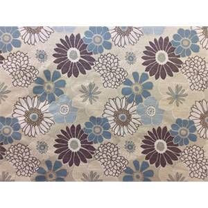 Floral Splash Blue Brown Upholstery Fabric