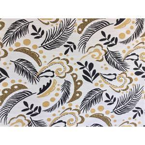 Makiro Vintage Gold Feather Leaf Upholstery Fabric