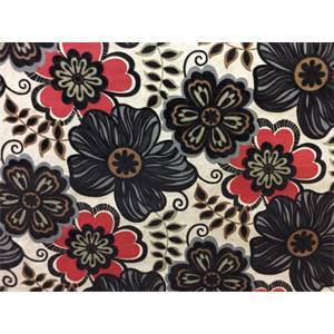 Clementine Ebony Flocked Velvet Floral Fabric