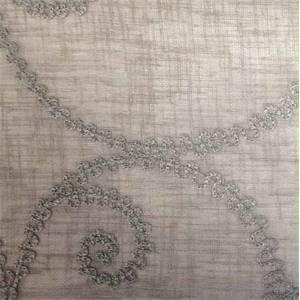 Cindy Sheer #5 Grain Gray Scroll Drapery Fabric