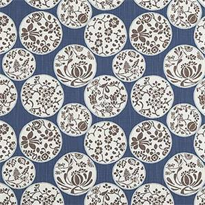 AIKO REGAL BLUE SLUB CANVAS PRINTED DRAPERY FABRIC BY PREMIER PRINT FABRICS 30 yard bolt