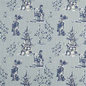Asian Toile Regal Navy Slub Canvas Printed Drapery Fabric by Premier Print Fabrics 30 Yard Bolt