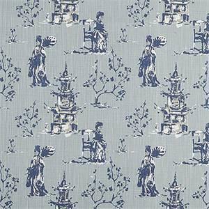 Asian Toile Regal Navy Slub Canvas Printed Drapery Fabric by Premier Print Fabrics 30 Yard Bolt