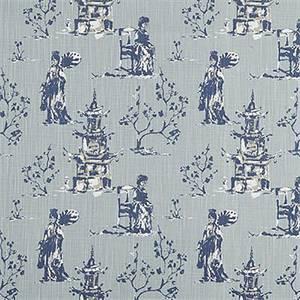 Asian Toile Regal Navy Slub Canvas Printed Drapery Fabric By Premier