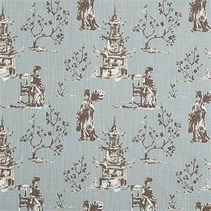 Asian Toile Regal Blue Slub Canvas Printed Drapery Fabric by Premier Print Fabrics 30 Yard Bolt