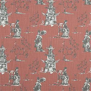 Asian Toile Scarlet Slub Canvas Printed Drapery Fabric by Premier Print Fabrics 30 Yard Bolt