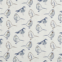 Bird Toile Regal Blue Slub Canvas Printed Drapery Fabric by Premier Print Fabrics