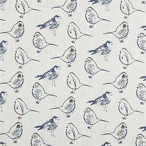 Bird Toile Regal Blue Slub Canvas Printed Drapery Fabric by Premier Print Fabrics 30 Yard Bolt