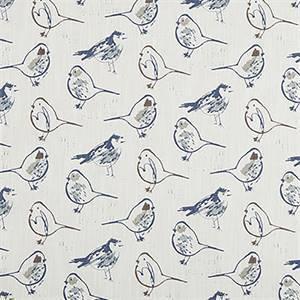 Bird Toile Regal Blue Slub Canvas Printed Drapery Fabric by Premier Print Fabrics 30 Yard Bolt