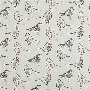 Bird Toile Scarlet Slub Canvas Printed Drapery Fabric By