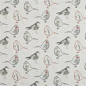 Bird Toile Scarlet Slub Canvas Printed Drapery Fabric by Premier Print Fabrics 30 Yard Bolt