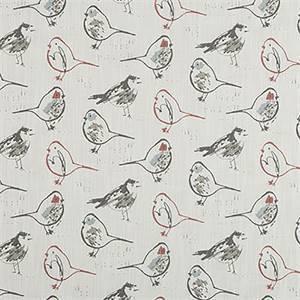 Bird Toile Scarlet Slub Canvas Printed Drapery Fabric by Premier Print Fabrics 30 Yard Bolt