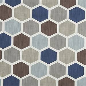 Hexagon Regal Blue Slub Canvas Printed Drapery Fabric by Premier Print Fabrics 30 Yard Bolt