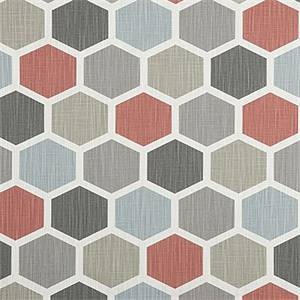Hexagon Scarlet Slub Canvas Printed Drapery Fabric by Premier Print Fabrics 30 Yard Bolt
