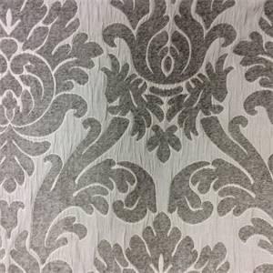 Capulet Vapor Gray Chenille Damask Upholstery Fabric