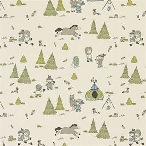 Cowboys and Friends Felix Natural Cotton Drapery Print by Premier Print Fabrics 30 Yard Bolt