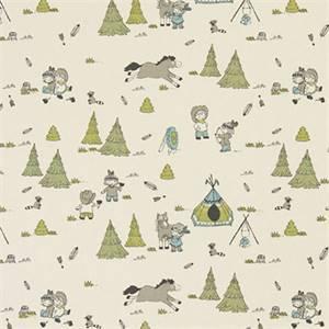 Cowboys and Friends Felix Natural Cotton Drapery Print by Premier Print Fabrics 30 Yard Bolt
