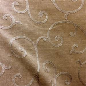 Bronzac Foil Embroidered Scroll Fabric by Swavelle Millcreek