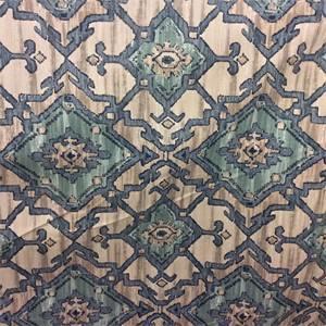 Sundance Denim Blue Geometric Cotton Drapery Fabric by P Kaufmann