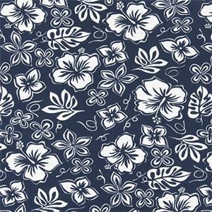 Hibiscus Vintage Indigo Cotton Drapery Fabric by Premier Print Fabrics 30 Yard Bolt
